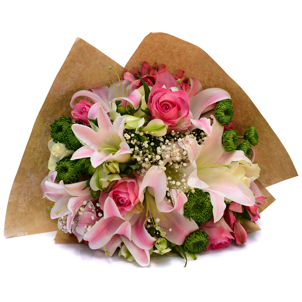 Lily and Pink Rose Bouquet